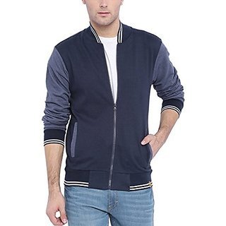 Campus Sutra Men Navy Blue Varsity Jacket