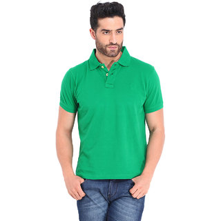 Ketex Men's Green Half Sleeve Polo Collar T-Shirt