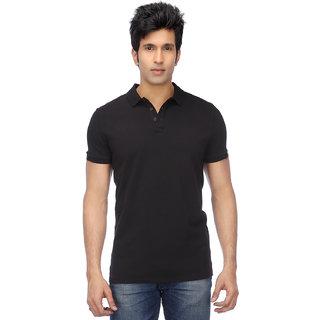 Ketex Men's Black Plain Synthetic Polo Collar T-Shirt
