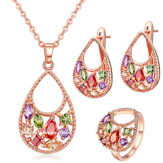 Jewels Galaxy Fresh Arrival Luxuria Sparkling AAA Quality Cubic Zirconia 18K Rose Gold Plated Splendid Pendant Rings E