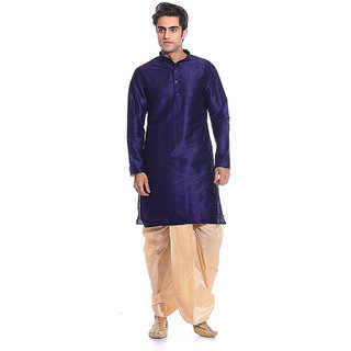Larwa Men's Navy Relaxed Fit Ethnic Wear