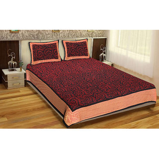 Jaipur Cotex flower print  cotton double bed sheet with 2 pillow cover (JCDP-1063 )