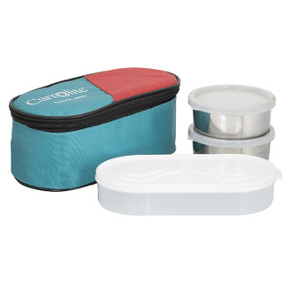 Sellebrity 3 in 1 Green Lunchbox-2 Steel Container:1 Plastic Chapati tray