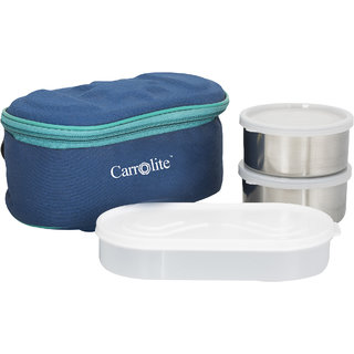 Sellebrity Browny Blue Lunchbox-2 Steel Container:1 Plastic Chapati tray