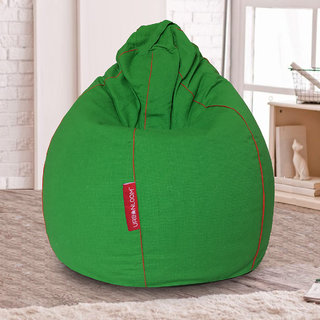 Olivia Organic cotton XXXL Khadi Bean bag cover without beans by Urbanloom (Colour - Green)