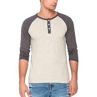 Campus Sutra Melange Raglan Henley Full Sleeve Tshirt with Pocket Crème