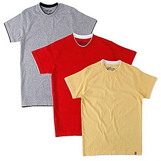Campus Sutra Mens Round Neck T-Shirt (Pack of 3) (Multi-Coloured)