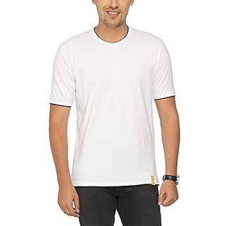Campus Sutra Mens Round Neck T-Shirt (White)
