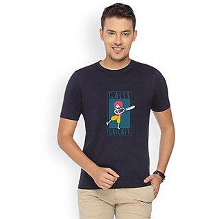 Campus Sutra Navy Blue Round Neck Tshirt Galli Cricket