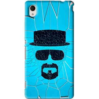 Snooky Printed Beard Man Mobile Back Cover For Sony Xperia M4 - Blue