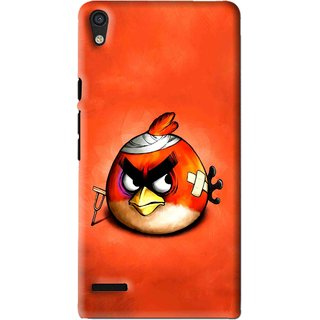 Snooky Printed Wouded Bird Mobile Back Cover For Huawei Ascend P6 - Red