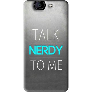 Snooky Printed Talk Nerdy Mobile Back Cover For Micromax Canvas A350 - Grey