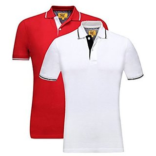 Campus Sutra Men Polo Neck T-Shirts with Tipping Combo of 2