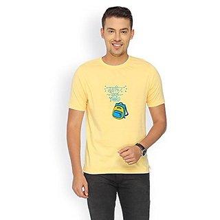 Campus Sutra Yellow RIB Tshirt Musafir Hoon Yaaro