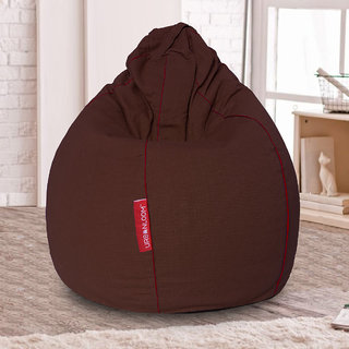 Auburn Organic cotton XXXL Khadi Bean bag cover without beans by Urbanloom (Colour - Chocolate Brown)
