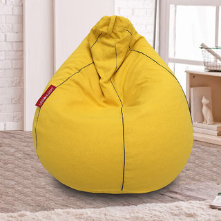 Daffodil Organic cotton XXXL Khadi Bean bag cover without beans by Urbanloom (Colour - Yellow)