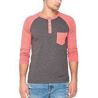 Campus Sutra Melange Raglan Henley Full Sleeve Tshirt with Pocket Charcoal Grey