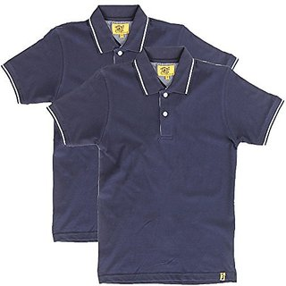 Campus Sutra Mens Polo (Pack of 2) (Blue)