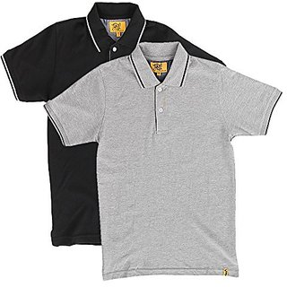 Campus Sutra Mens Cotton Polo (Pack of 2) (Multi-Coloured)