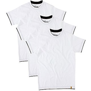 Campus Sutra Mens Round Neck T-Shirt (Pack of 3) (White)