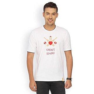 Campus Sutra White RIB Tshirt Cricket Lovers