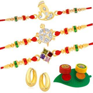 VK Jewels Gold and Rhodium Plated Alloy CZ American Diamond Rakhi Combo for Men [VKRAKHI1303G]