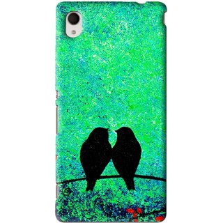 Snooky Printed Love Birds Mobile Back Cover For Sony Xperia M4 - Green