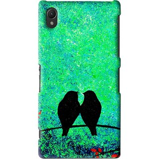 Snooky Printed Love Birds Mobile Back Cover For Sony Xperia Z2 - Green