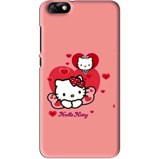 Snooky Printed Pinky Kitty Mobile Back Cover For Huawei Honor 4X - Pink