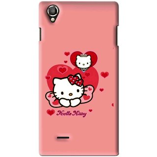 Snooky Printed Pinky Kitty Mobile Back Cover For Lava Iris 800 - Pink
