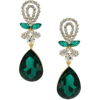 Anuradha Art Green Colour Studded White Colour Shimmering Stone Party Wear Long Fancy Earrings For Women/Girls