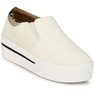 Groofer Women's Gold  White Smart Casuals Shoes