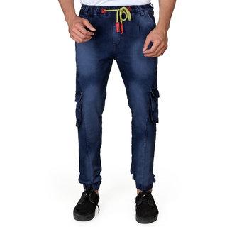 11892155f9f Buy Villain Denim Joggers Jeans for Men - Elastic Cargo Pants for Boys -  Fashionable Denim Pants - Blue Online - Get 50% Off