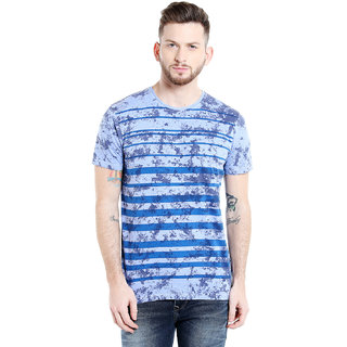 Killer Men's  Blue Striped T-shirt