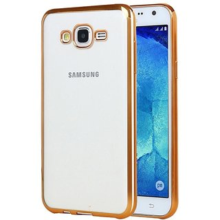 Samsung Galaxy J3 (2016) Electroplated Edge TPU Thin Flexible Back Case Cover - Golden For Samsung Galaxy J3 (2016)
