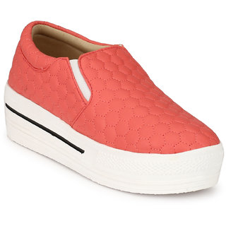 Groofer Women's Pink Smart Casuals Shoes