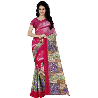 Anand Sarees Faux Georgette Printed Pink Color & Multicolor  With blouse piece (1248 )