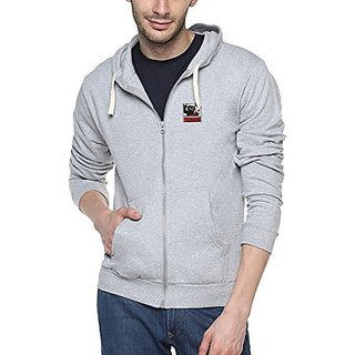 Campus Sutra Mens Grey Zipper Hoodie with Applique - Engineering Rocks