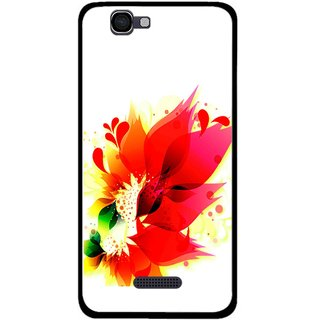 Snooky Printed Flowery Red Mobile Back Cover For Micromax Canvas 2 A120 - Multi