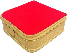 Atorakushon Mini Bangle Bracelet Box Travel Gift Box Jewelry Case Organizer Makeup Vanity Box  (Beige, Red)