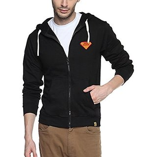 Campus Sutra Mens Black Zipper Hoodie with Applique - Super Engineer