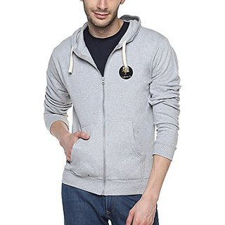 Campus Sutra Mens Grey Zipper Hoodie with Applique - Lighten Up