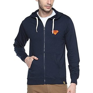 Campus Sutra Mens Navy Blue Zipper Hoodie with Applique - Super Engineer