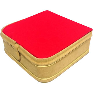 Atorakushon Mini Bangle Bracelet Box Travel Gift Box Jewelry Case Organizer Makeup Vanity Box (Beige Red)