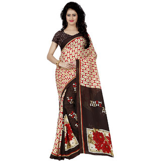 Anand Sarees Faux Georgette Printed Red Color & Multicolor  With blouse piece (1256 )