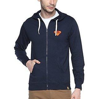 Campus Sutra Mens Navy Blue Zipper Hoodie with Applique - Super Designer