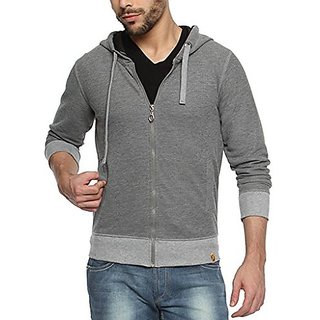 Campus Sutra Charcoal Mens cotton Premium Zipper Hoodie