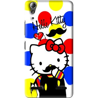 Snooky Printed moustache Kitty Mobile Back Cover For Lenovo A6000 - Multi
