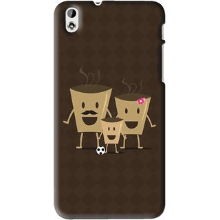Snooky Printed Wake Up Coffee Mobile Back Cover For HTC Desire 816 - Brown