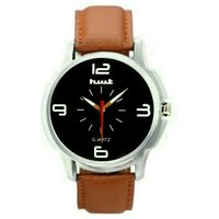 Hwt Black Dail Brwon Leather Strap Watch For Mens